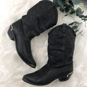 """Dingo """"Charlie"""" Black Leather Slouch Cowgirl Boots"""